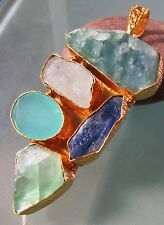 Gold plated brass 31gr rough fluorite/kyanite/crystal quartz/chalcedony pendant.