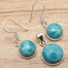 925 Silver Plated Simulated Larimar Gemstone Matching Earrings & Pendant Set !