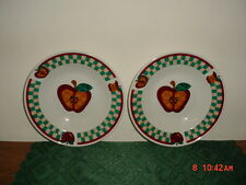 """2-PC TABLETOPS UNLIMITED """"A"""" IS FOR APPLE 9"""" SOUP BOWLS/WHT-RED-GRN/FREE SHIP!"""