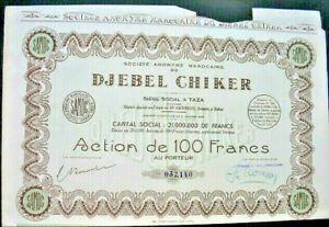 SAMOC / Marocaine Djebel Chiker Aktie Taza 1948 Marokko المغرب al-Maghrib Afrika