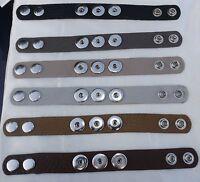 Leather 3 botton 24cm Bracelets Noosa Style Snap Button