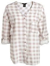 CLEARANCE Ladies V neck Checked Shirt Blouse Sizes UK 14 - 18 Beige white