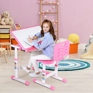 Height Adjustable Children Study Desk and Chair Set Student Kids Activity Table