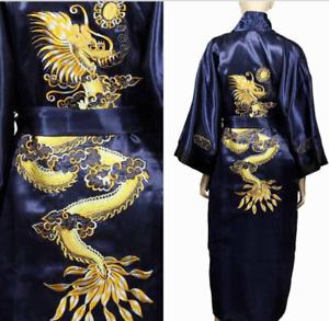 Mens Satin Silk Dragon Robe Japanese Kimono Dressing Gown Bath Nightwear pajamas