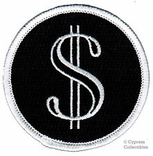 DOLLAR SIGN PATCH embroidered MONEY symbol CASH iron-on round CURRENCY SYMBOL