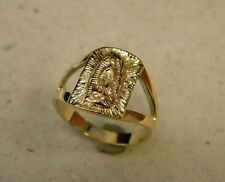 Men's Yellow Gold Plated Square Religious Virgin Mary Fashion Ring Size 11