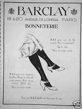 PUBLICITÉ BARCLAY BAS MAILLE TRES FINE POUR LE SOIR BONNETERIE