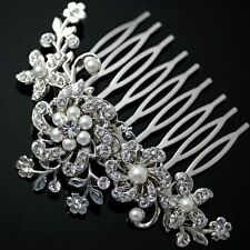Fashion Cryatsl Bridal Wedding Flower Pearls Headband Hair Clip Comb Jewelry