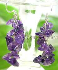 SALE 40mm purple natural Amethyst grape shape Dangle earrings silver hook-ear127