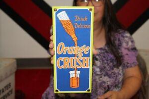 Drink Orange Crush Soda Pop Fountain Bottle Gas Oil Porcelain Metal Sign