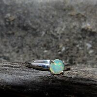 Natural Ethiopian Opal Round Gemstone 925 Sterling Silver Beautiful Women Ring