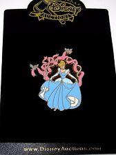 Rare Le Disney Auction Pin✿Cinderella Ribbons Bluebird Sash Pearls Blue Ballgown