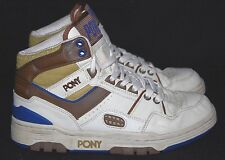 RARE VINTGE Pony M-100 Bianco Marrone Alto Hi Top Basket Scarpe da ginnastica pompe 7.5/8