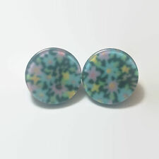Pink Yellow & Blue Floral Plastic Disc Earrings