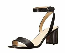 Nine West Women's Tullip Leather Heeled Sandal, Black, 6.5 M US