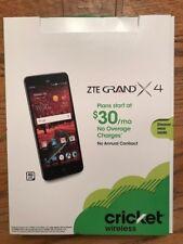 Cricket Wireless ZTE GRAND X 4 NEW UNLIMITED TALK TEXT DATA NO ANNUAL CONTRACT