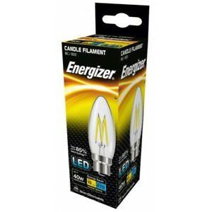 Energizer 4W = 40W Filament LED Candle Light Bulb Lamp Bayonet BC B22