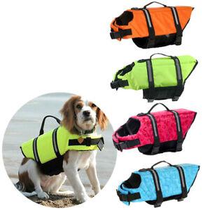 Dog Life Jacket PULL Handle Reflective Adjust Pet Puppy Swimming Safety Vest
