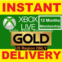 Xbox Live Gold 12 Month Membership Code - Xbox One 360 US Region ONLY