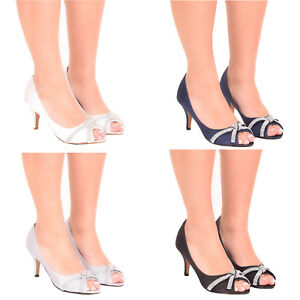 Ladies satin diamante wedding shoes bridesmaid party prom  heels size