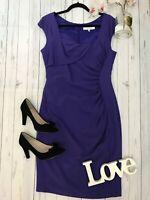 LK Bennett Size 14 Purple Tina fitted wiggle pencil dress VGC work career office