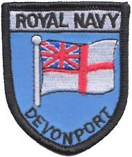 HMNB Devonport Royal Navy RN White Ensign Small Shield Embroidered Badge