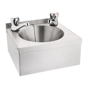 Commercial Stainless Steel Mini Wash Basin with Taps and Waste 305Wx268Dx165Hmm