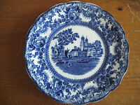 "ANTIQUE FLOW BLUE PLATE 7 7/8"" COLONIAL POTTERY TOGO PATTERN"