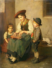 """Art oil painting nice young mother with her children playing Mini accordion 36"""""""