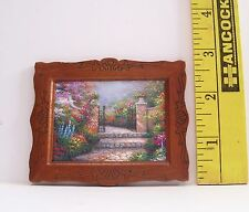 DOLLHOUSE FASHION DOLL MINIATURE GARDEN SCENE PICTURE GREAT FRAME!