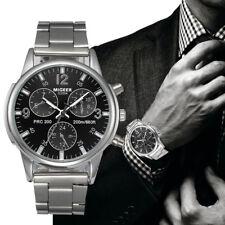 Luxus Herren Armbanduhr Edelstahl Leder Band Rund Analog Uhr Quarz Wrist Watch