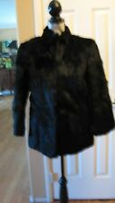 VINTAGE 100% REAL RABBIT FUR JACKET DYED BLACK (SIZE SMALL) PIERRE DUMONT