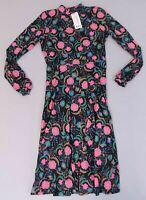 Boohoo Women's Joana Bohemian Floral High Neck Midi Dress SD8 Magenta Size 8 NWT
