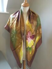 Beautiful New With Tags Satin Silk Scarf Large Floral Brown Yellow Green