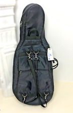More details for new 1/4 cello padded gig bag black with pockets and handle strap 100cm