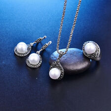 Hot Wedding Jewelry Set Necklace Pearl&Crystal Bib Necklace Earring Ring 18mm