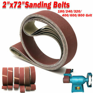 6PCS 2'' x 72'' Sanding Belts 180~800 Grit Wood Metal Grinding Sander Polishing
