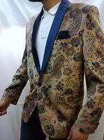 Men's Retro Velvet Paisley Patterned  Blazer Tux Dinner Jacket Smart Casual