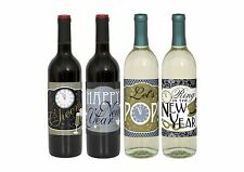 4 x Jazzy New Year Party Themed Wine Bottle Labels celebrations 63502