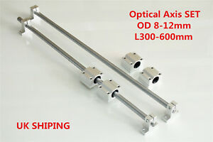 Linear Shaft Smooth Rod Optical Axis Support & Bearing Block OD 8-12mm 300-600mm