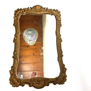 """Vintage Iron Art Heavy Gold Ornate Rectangle Mirror Picture Frame 20"""" x 12"""" Rose"""