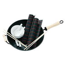 11pc antiadhésif wok set en acier carbone/bois poignée/bols/cuillère/baguettes/sets de table