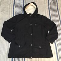 G.H. Bass Womens Sherpa Lined Hooded Jacket Zip/Button Front Size XL Black