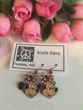 Silvertone Minnie Mouse Face with Traditional RED White Dot Bow Dangle Earrings