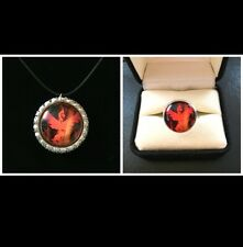 Pokemon Go Team Valor Necklace And Ring Jewelry Set