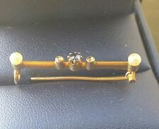 Antique Victorian 14K Gold Small Bar Pin Accents Sapphire Diamond 2 Seed pearls