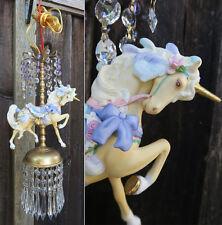 Porcelain Carousel Unicorn Lamp Ceiling Chandelier Vintage Horse Crystal Roses