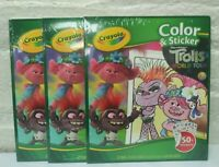 3 ~  Crayola Color & Sticker Trolls World Tour Book 32 pages & 50+ Stickers New