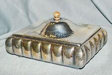 Art Déco Deckeldose Zigarrenkasten versilbert, gehämmert, 1928