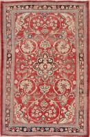 Vintage Floral Traditional RED Area Rug Wool Hand-Knotted Oriental Carpet 4x7